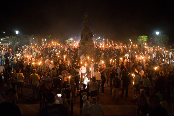 Far right activists rally in opposition to the proposed removal of the Robert E. Lee statue