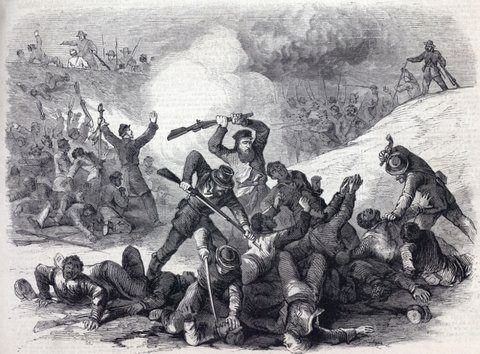 depiction of the massacre of Fort Pillow