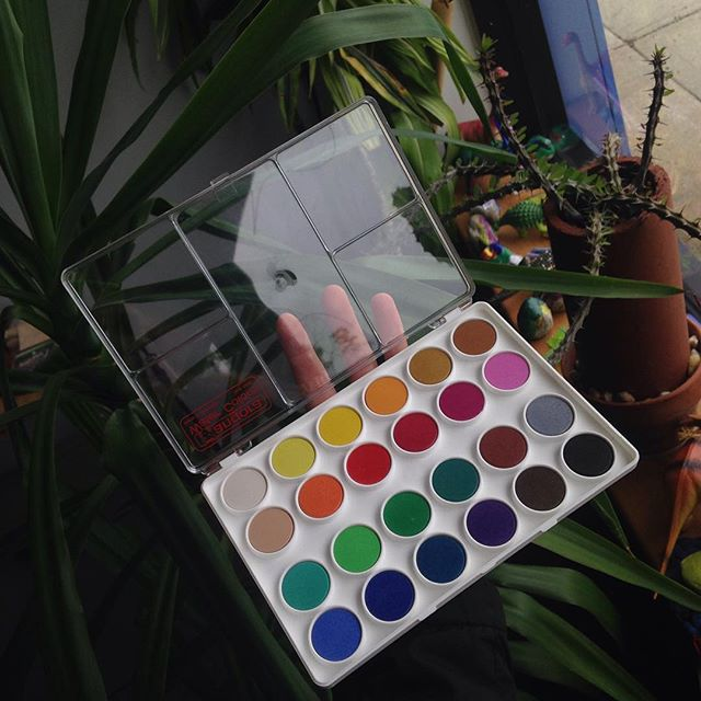 An awesome watercolor set🌈 featuring our window plants and dinos in the background #watercolor