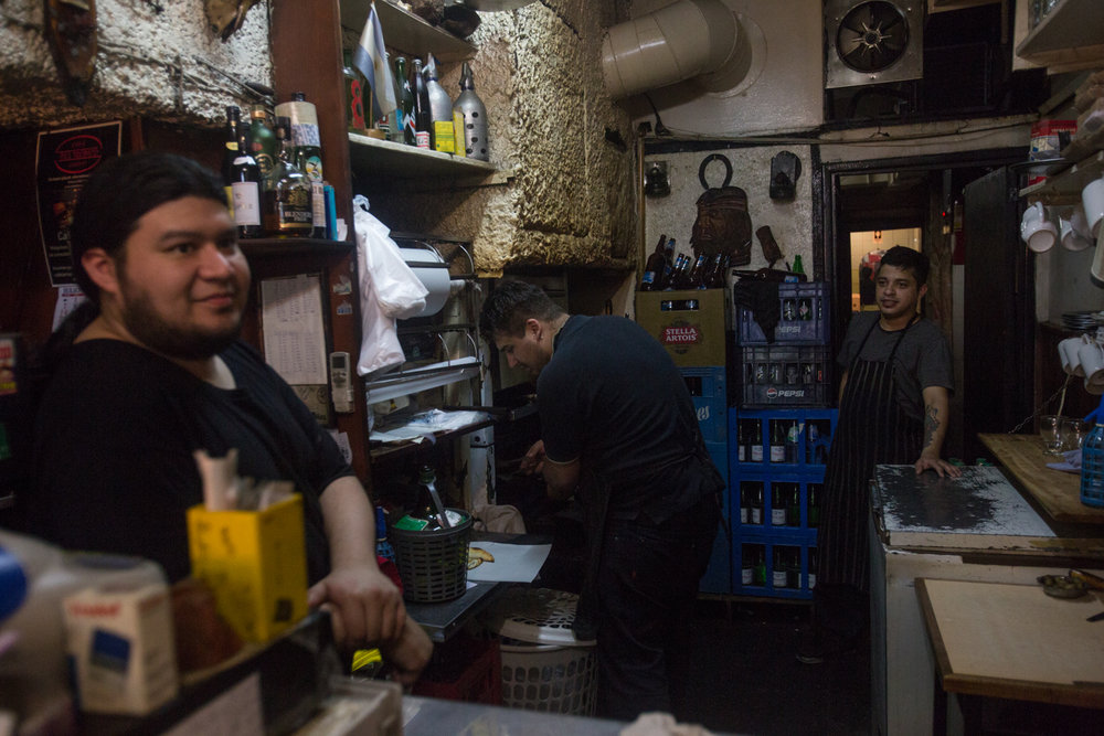 Employees behind the counter at what turned out to be our first of two visits to Ña Serapia.