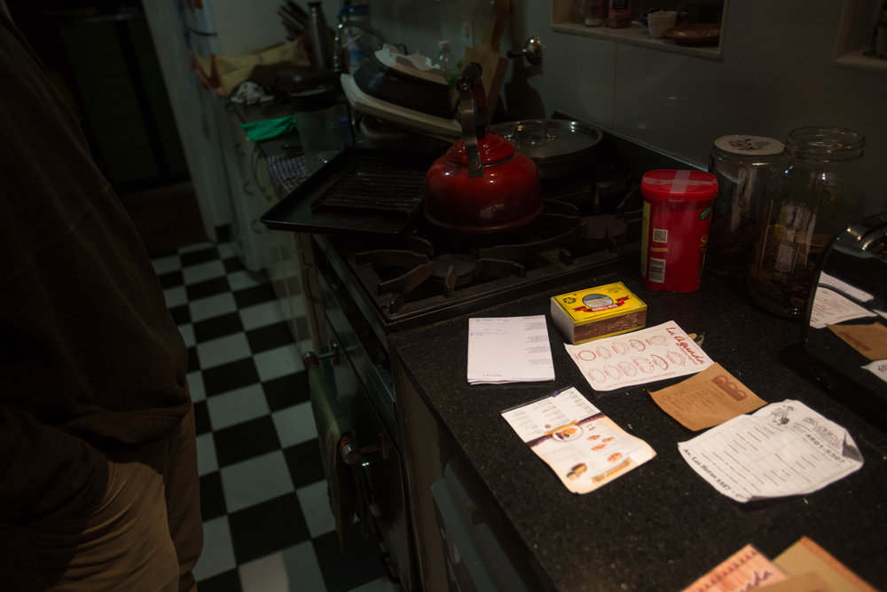 When we got home, Walter organized the menus and empanada diagrams so that we'd know which was which.