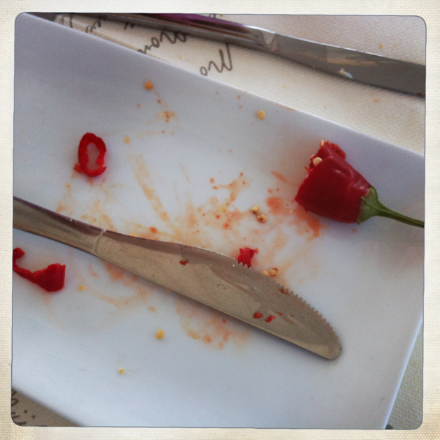 This hot pepper was no joke. (Calabria is known for its spicy food.)