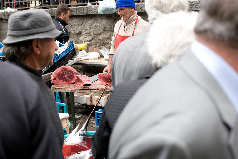 The two most prized fish in Catania are swordfish and tuna. Here's a peek at the latter.