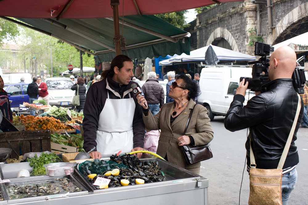 Because it was Good Friday, the television news showed up to interview fishmongers and customers.