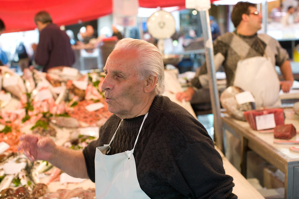 The fishmonger who hand-fed me several raw shrimp.