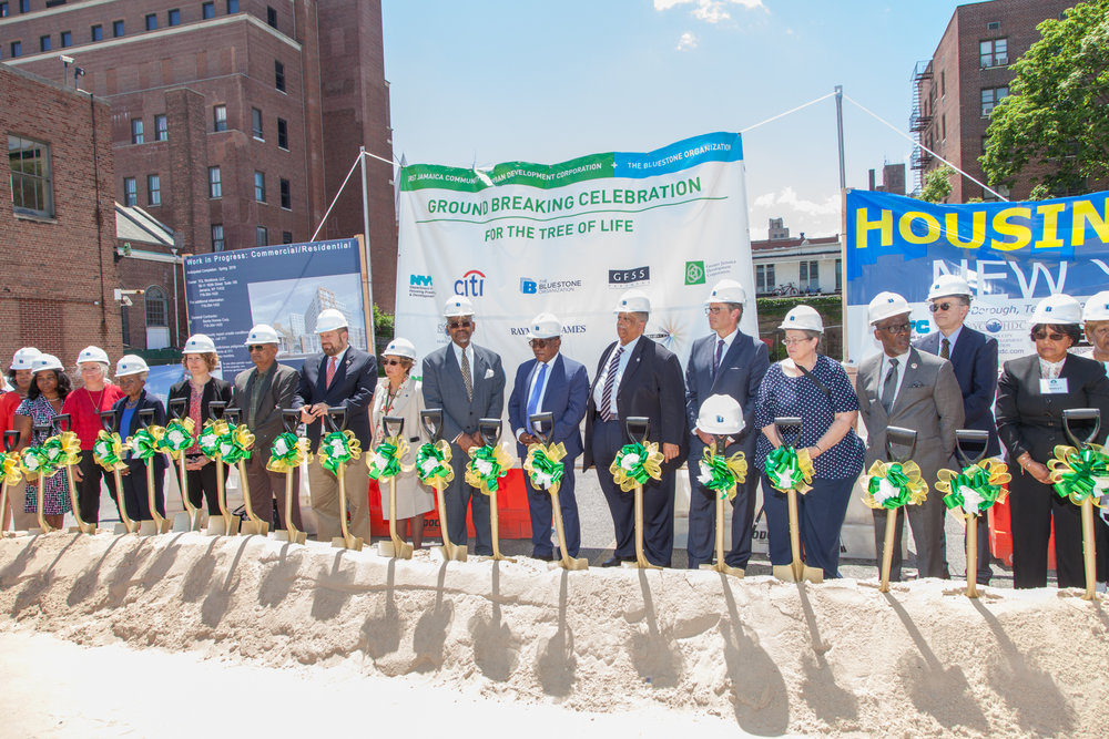 Southeast Queens elected officials help celebrate the kick-off of the building's construction. Photo by Trone Dowd