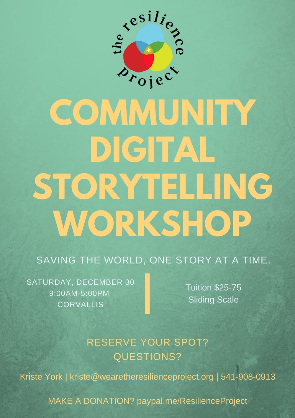 On the edge of 2018, reflect on the 2017 story to capture with narrative and digital editing.   Join the Resilience Project for a 1-day digital storytelling workshop! On the last Saturday of the month, arrive at the Benton Center with a story you want to tell, leave with a digital story, and stronger ties to other people in our community. This workshop is open to all community members age 16 and over.  The suggested donation for this workshop is $75, but please pay what you can afford. You can also make a donation to enable another community member to attend.  Email Kriste York for more information and to register.