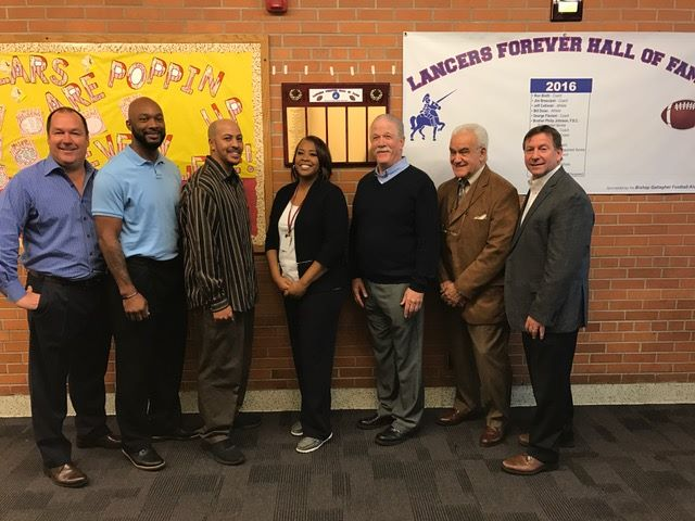 BGFA Steering Committee members Tom Ostrowski, Julius Curry, Darnell Sumney, Jack Masserang, Tom Martilotti and Jeff Spicuzzi were on hand for the dedication. Along hand with Kim pressley, principal at Starr Detroit Academy.