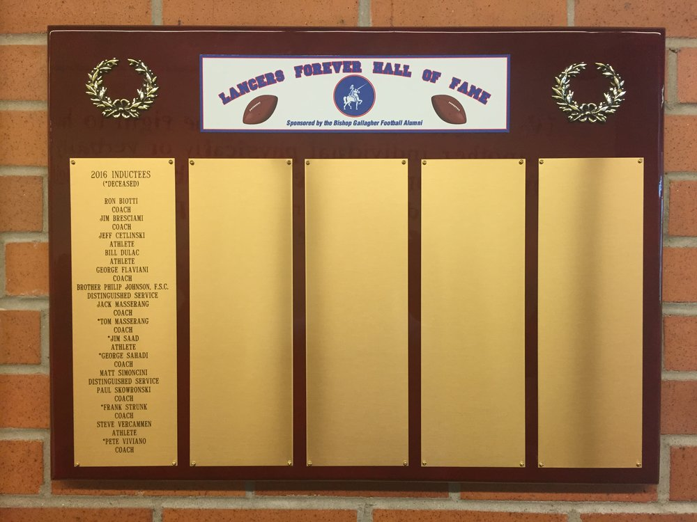 The Lancers Forever Hall-of-Fame plaque donated by the family of Jim Saad 2016 inductee.