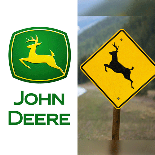 The John Deere logo, and a deer-crossing sign.