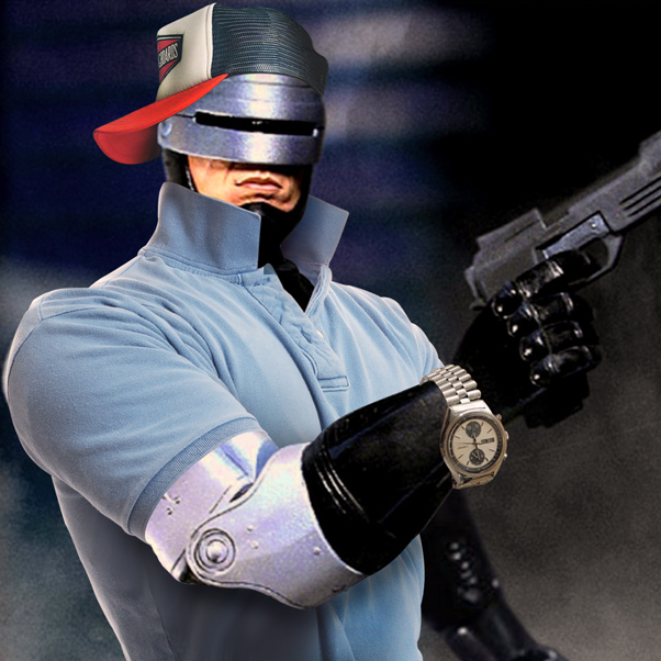 Robocop_wearing_trucker_hat_polo_shirt_gold_watch.jpg