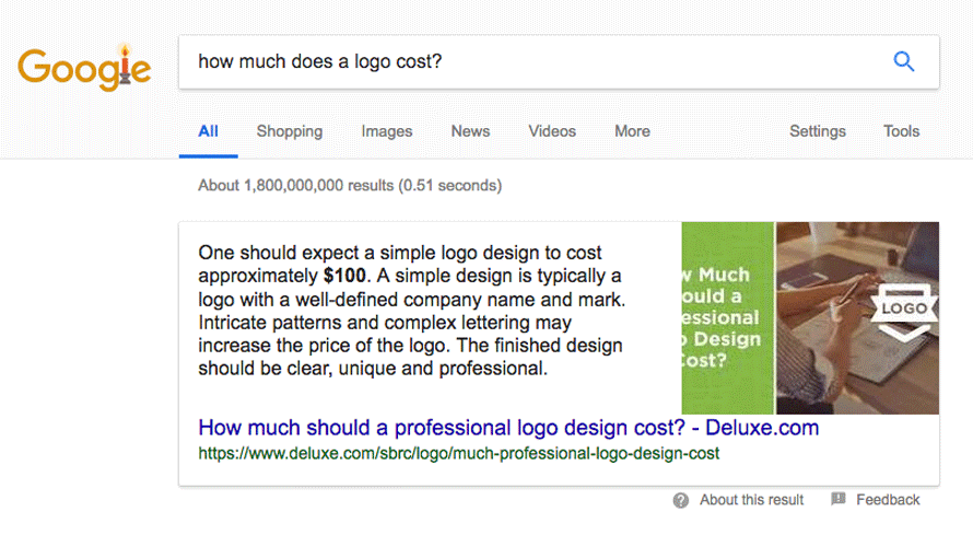 "If you Google ""How much does a logo cost?"" This is the very first result."