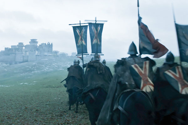 House Bolton bannermen approach Winterfell. Their brand is on point.