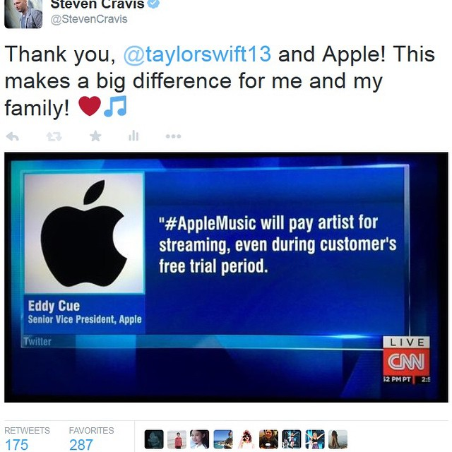 Thank you, Taylor and Apple! #taylorswift #applemusic #eddycue #cnn #ap https://twitter.com/StevenCravis/status/612879453144809472/photo/1