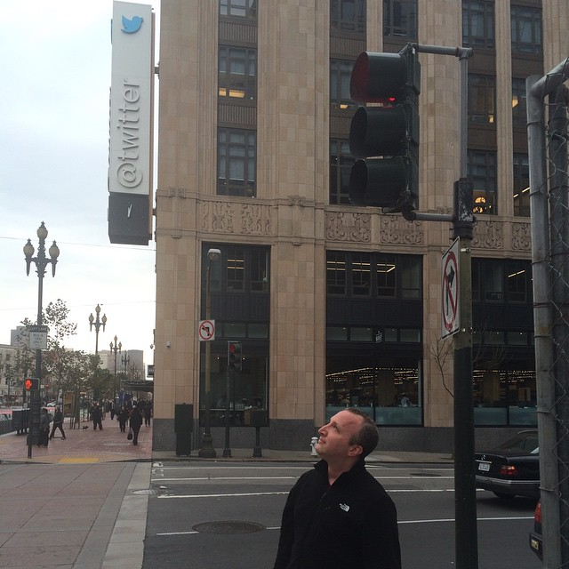 Looking up at twitter building even though it's behind me. Photo by @rickrock247