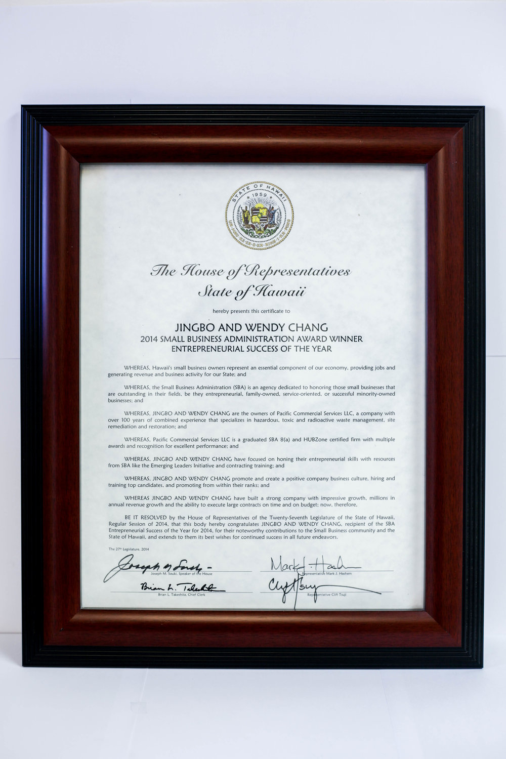 2014 SBA Entrepreneurial Success - Awarded by the House of Representatives of Hawaii