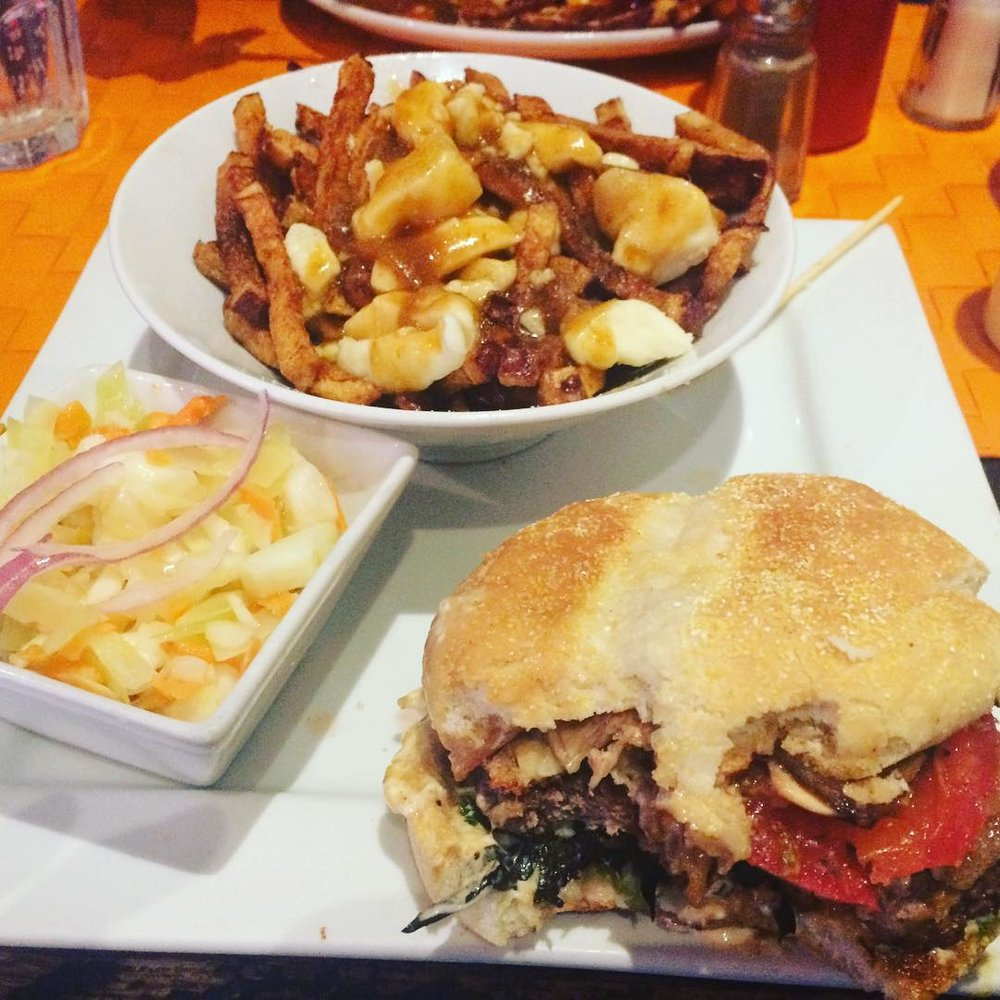 OMG been craving a burger all week. With bacon and carmelized onions and mushrooms. Mmmmm   - @tashaclass
