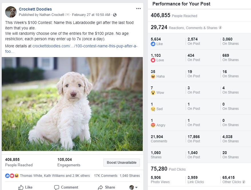 The post reached more than 400,000 people
