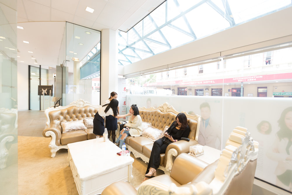 Quality & Comfort is our Culture - Client waiting area located on the Ground floor Haymarket store, best service provide with privacy and comfy.