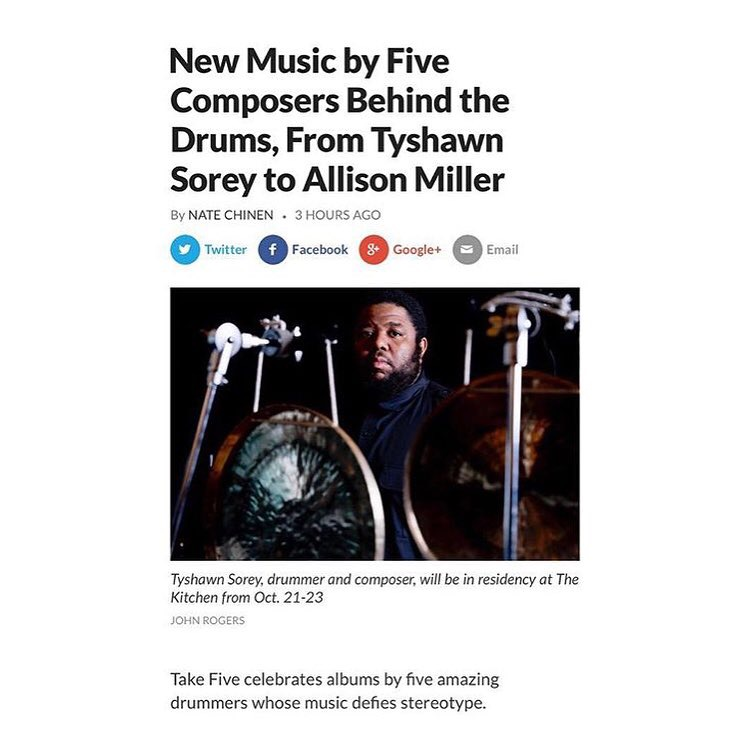 WBGO - New Music by Five Composers Behind the Drums, From Tyshawn Sorey to Allison Miller by Nate Chinen 2018