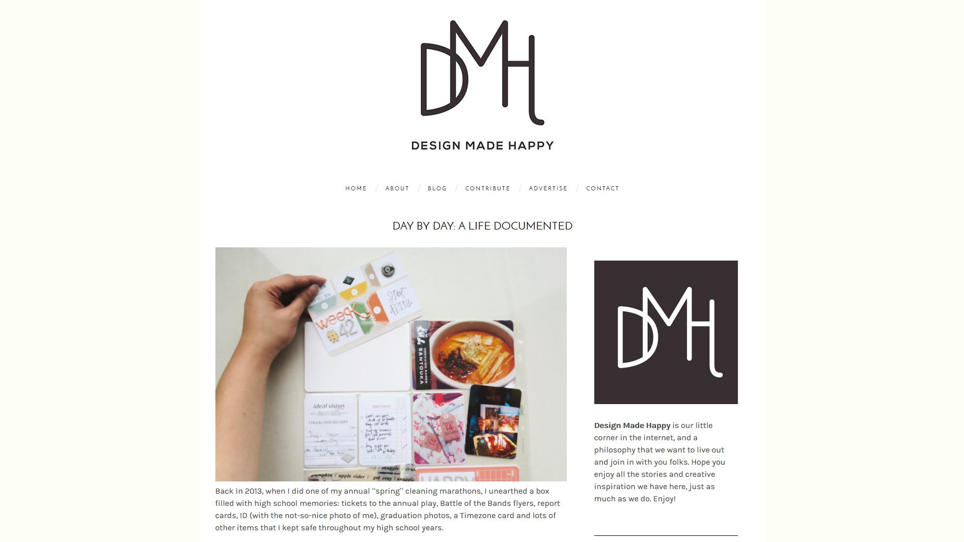 Featured in Design Made Happy Day by Day, a life documented