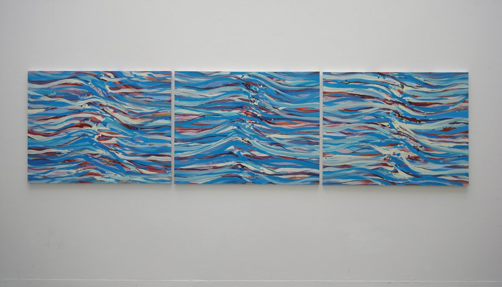 Rhythm Triptych  2014, 405 x 105cm acrylic on canvas