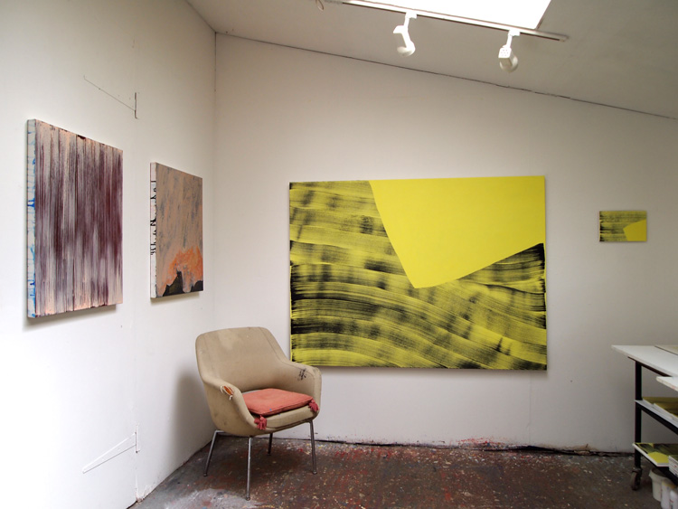 Studio view featuring 'Luminous Flux 4' (size 130 x 175cm acrylic on canvas)