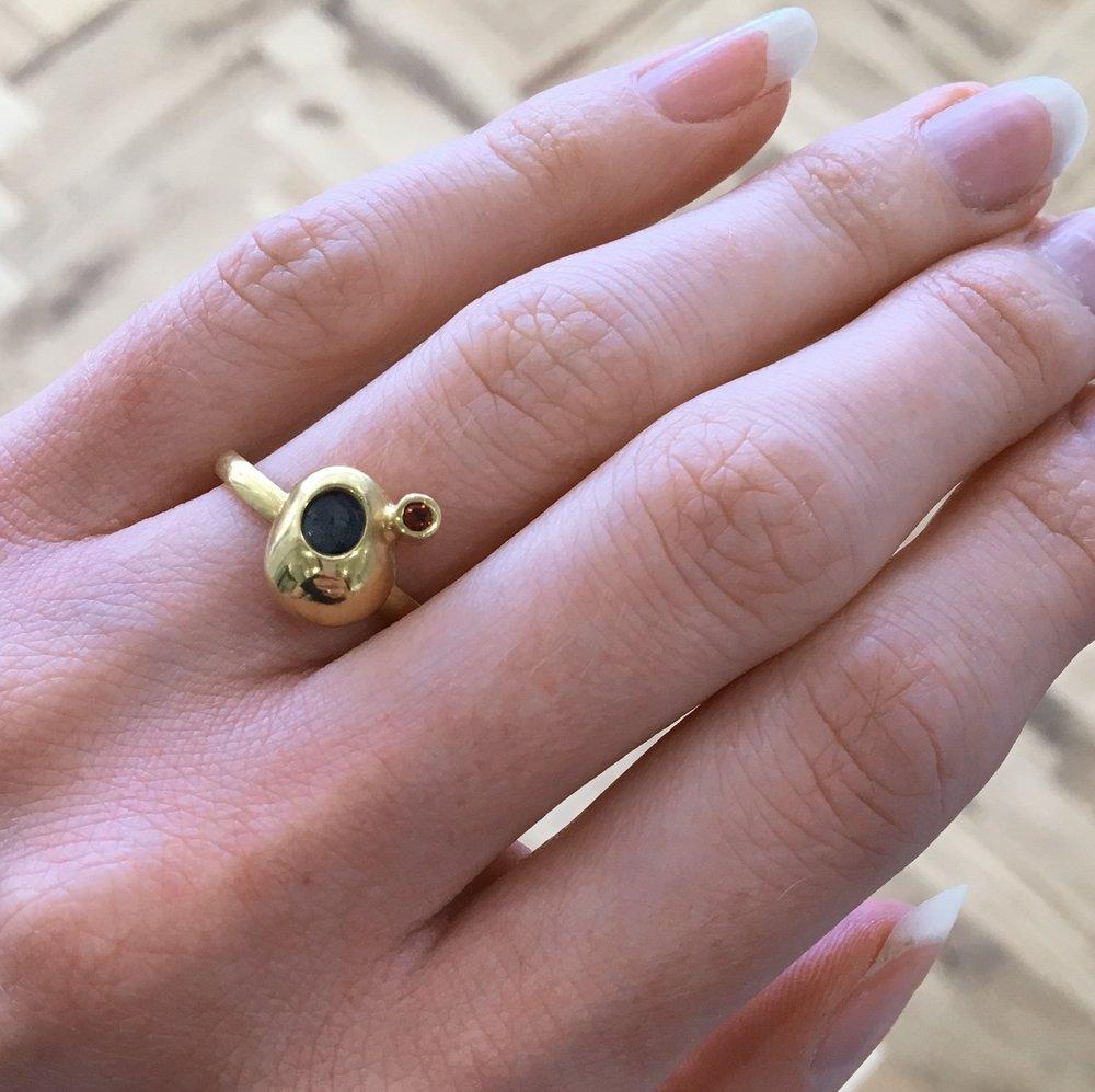 Monique Jeffrey-Jones ~ 'HAWKS TOR', silver gilt ring with garnet