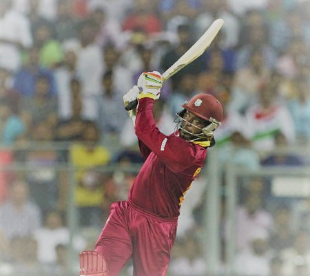 Chris Gayle hitting a six as a symbol of batting performance