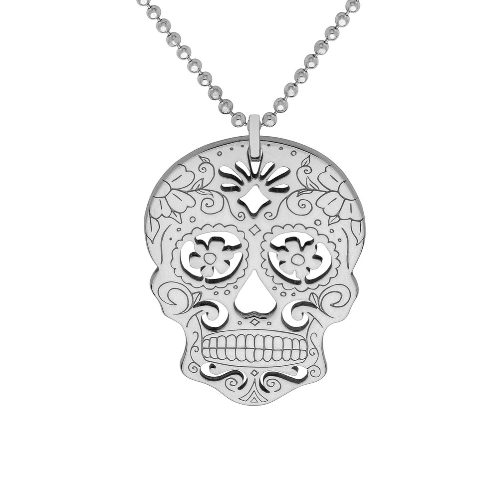SUGAR SKULL WITH FLOWERS PENDANT<br>from £65.00