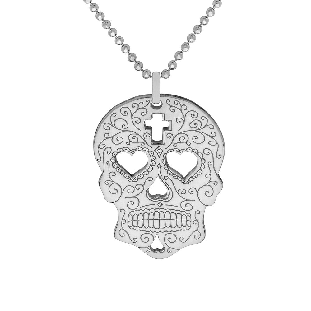 SUGAR SKULL WITH HEARTS PENDANT<br>from £50.00