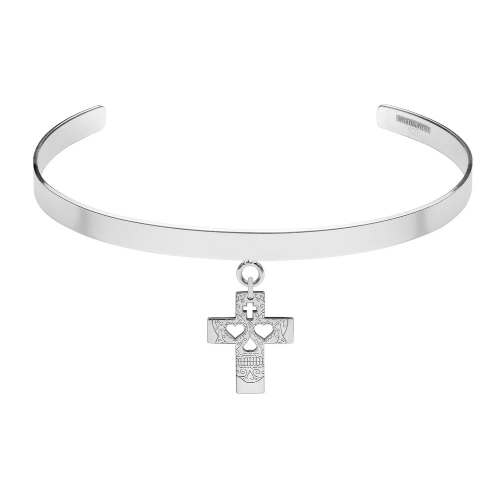 SUGAR SKULL CROSS<br>SINGLE CHARM CHOKER<br>£165.00