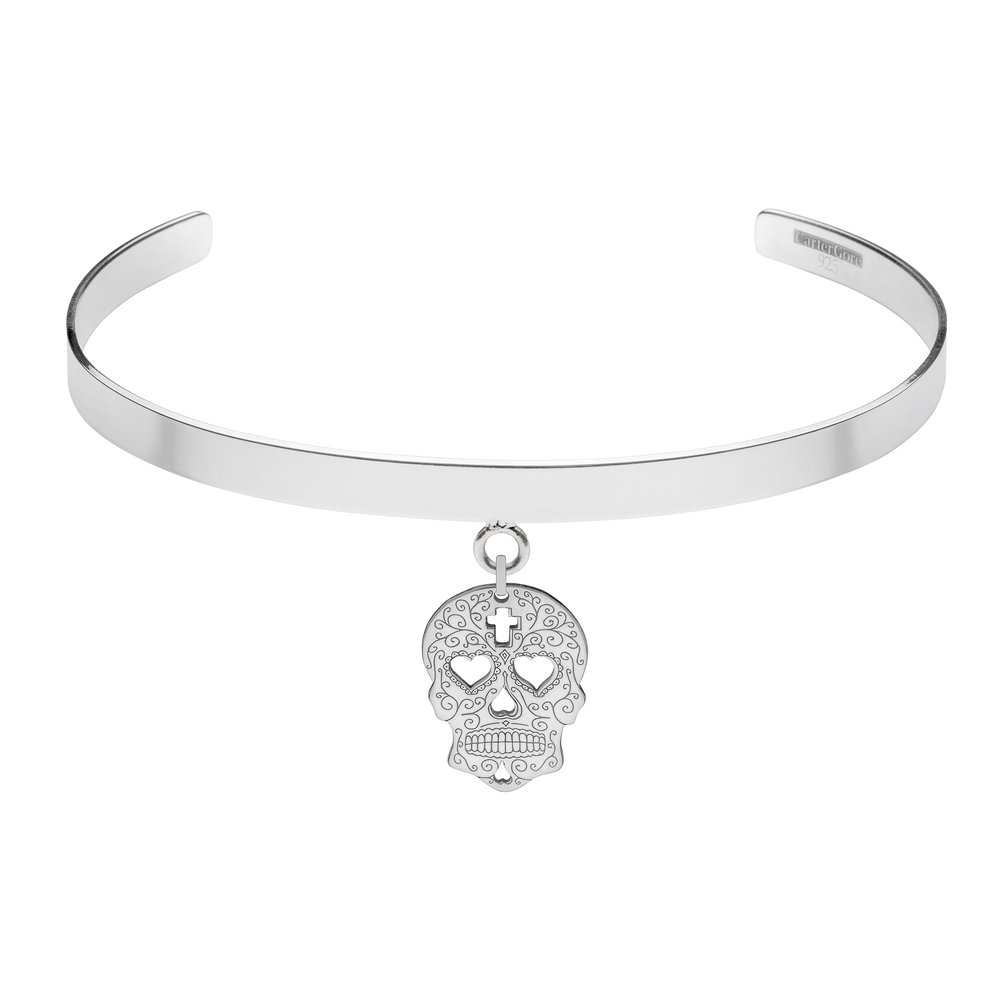 SUGAR SKULL WITH HEARTS<br>SINGLE CHARM CHOKER<br>£165.00