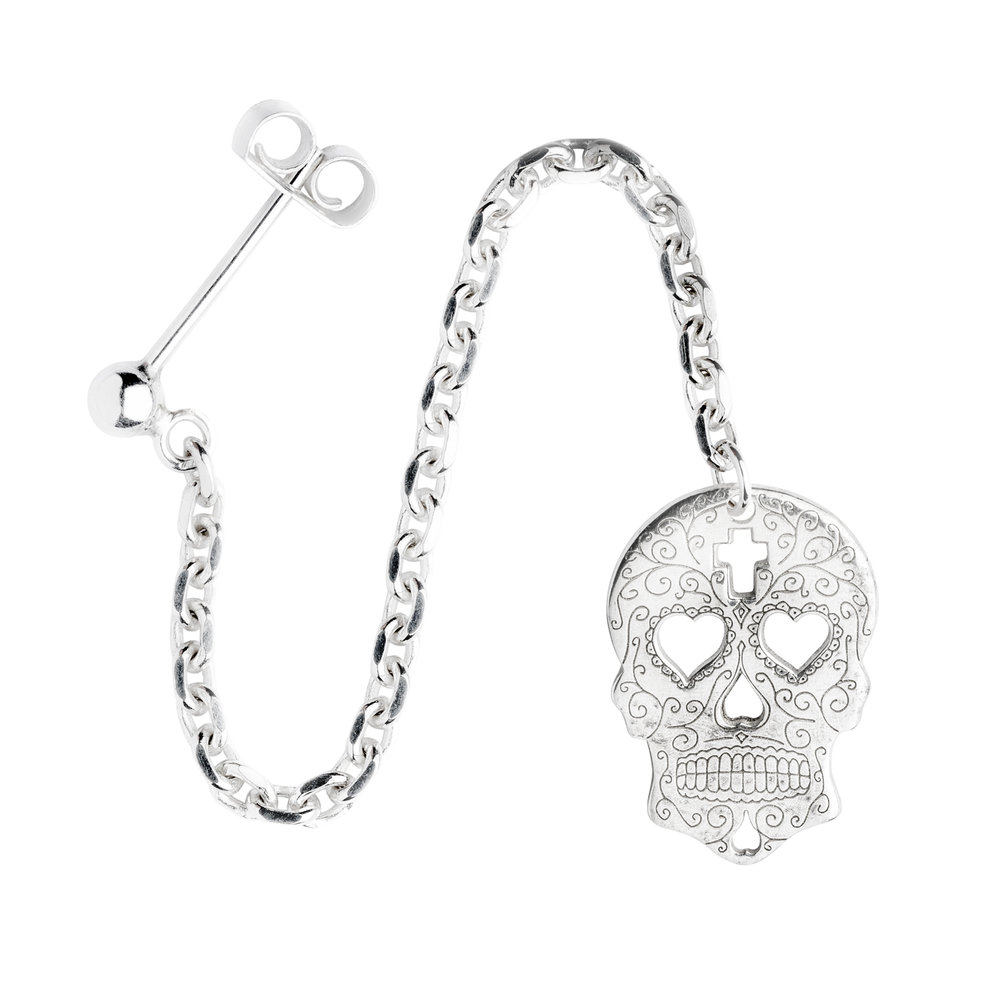 SUGAR SKULL WITH HEARTS<br><b>SINGLE EARRING</b><br>30.00