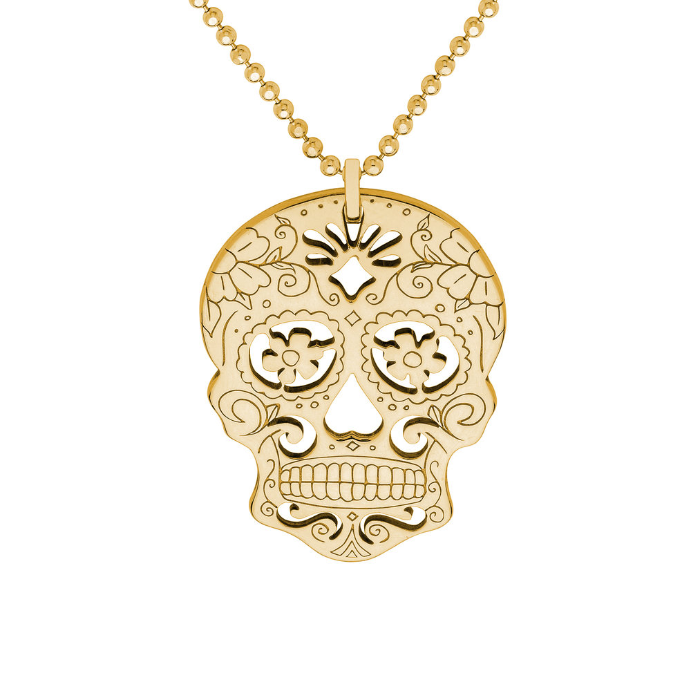 skull the controse sugar floral pendant image necklace