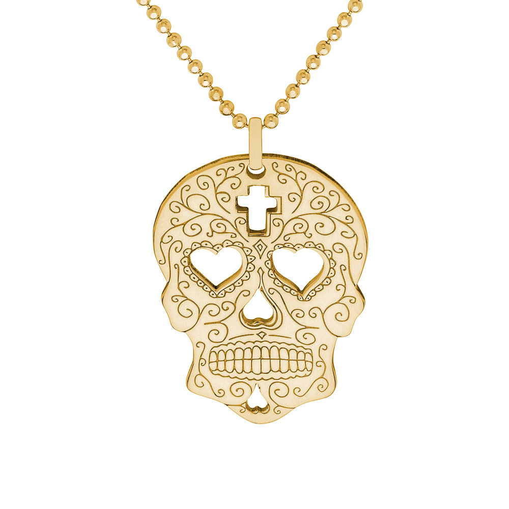 necklace statement itm bronze silver frieda skull sugar sugarskullsilver quirky mexican kahlo pendant