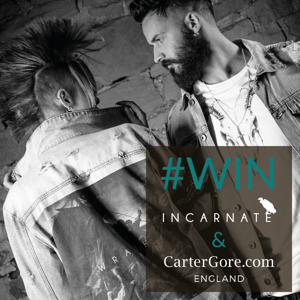 Calling all you Edgy Rock & Roll Revolutioners...  - Here's your chance to Win a mega unisex denim jacket by Incarnate Clothing, plus a matching Incarnate bandana as well a kick ass CarterGore large sugar skull silver pendant ... now that rocks! Go on... simply 'Follow' @cartergoreeng and @incarnate_clothing, plus tag three friends in the comment box underneath the post for your chance to win. Good luck everyone... View terms & conditions