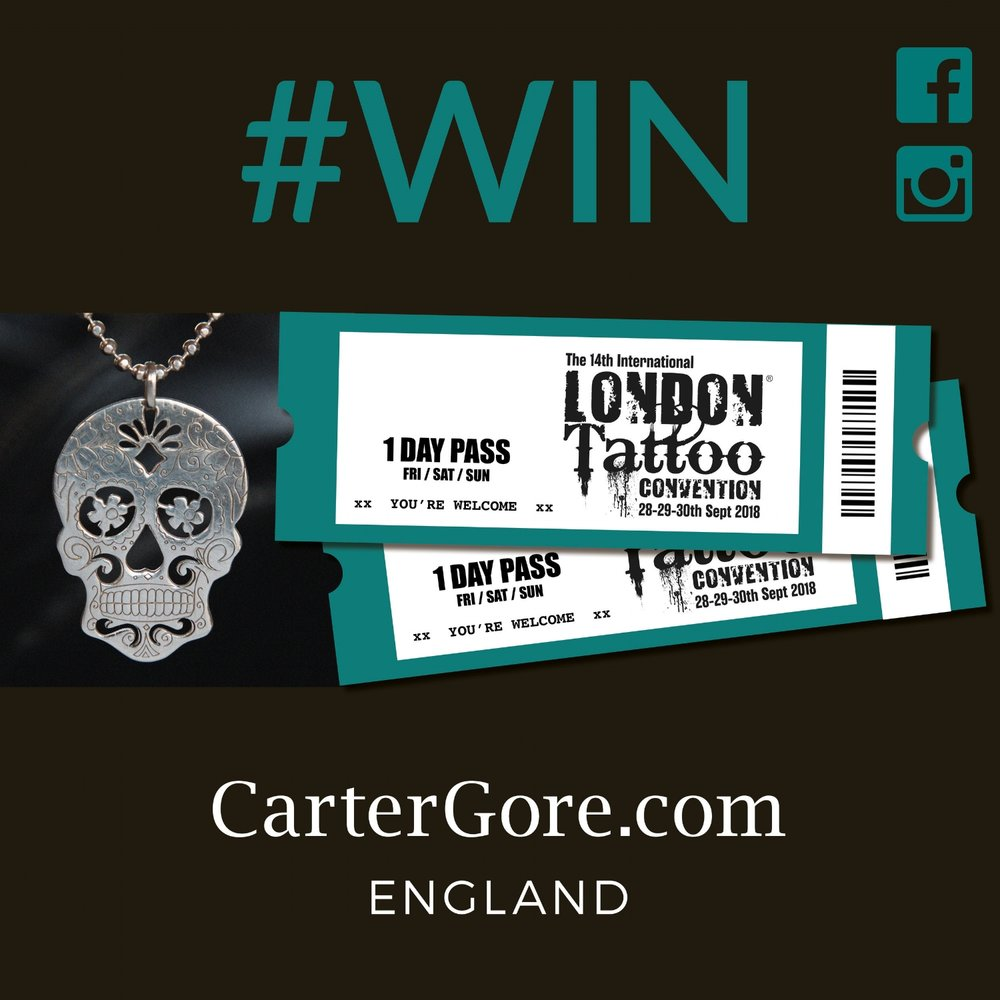 Calling all you Inked Addicts...  - Here's your chance to Win 2 mega day passes to The London Tattoo Convention 2018, plus a kick ass CarterGore large silver Sugar Skull Pendant with Flowers ... now that rocks! Go on... simply head over to our Facebook or Instagram page to enter. Good luck everyone... View terms & conditions