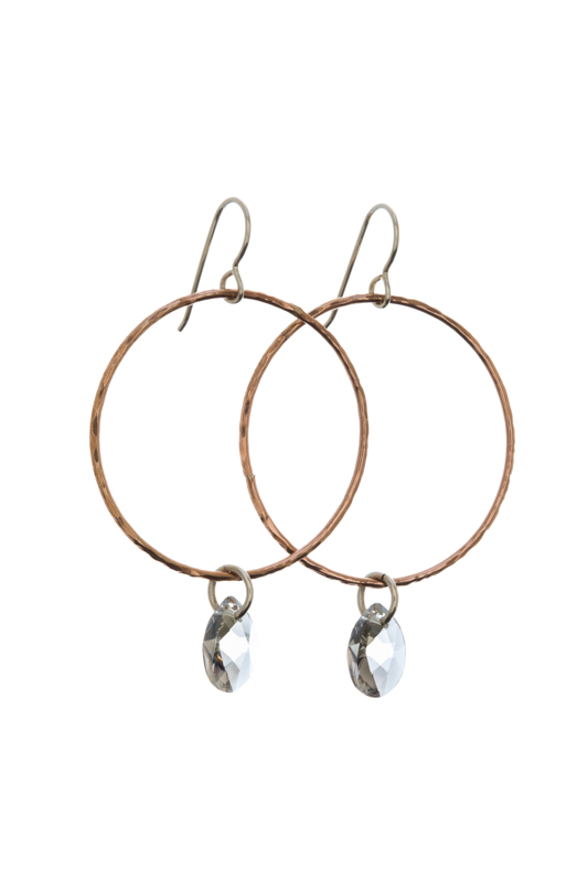 Rose Gold Circle Crystal Drop Earrrings - $75