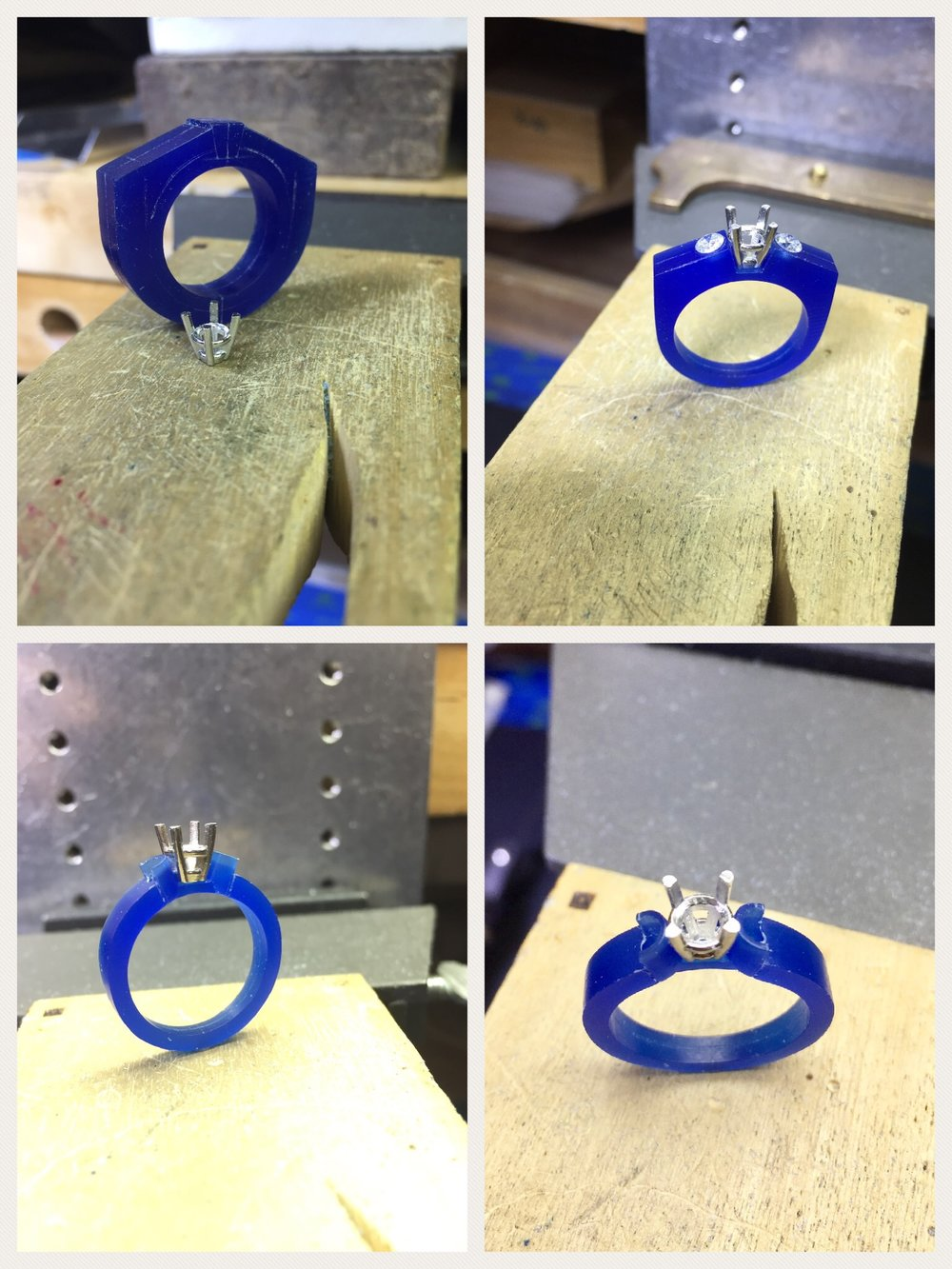 The next few steps include mapping out the placement of the side stones and determining the angles to be cut out for the center stone setting (head). Then the semi-bezels are created and we shape the shank (band) portion of the ring to blend it in with the other elements of the design.