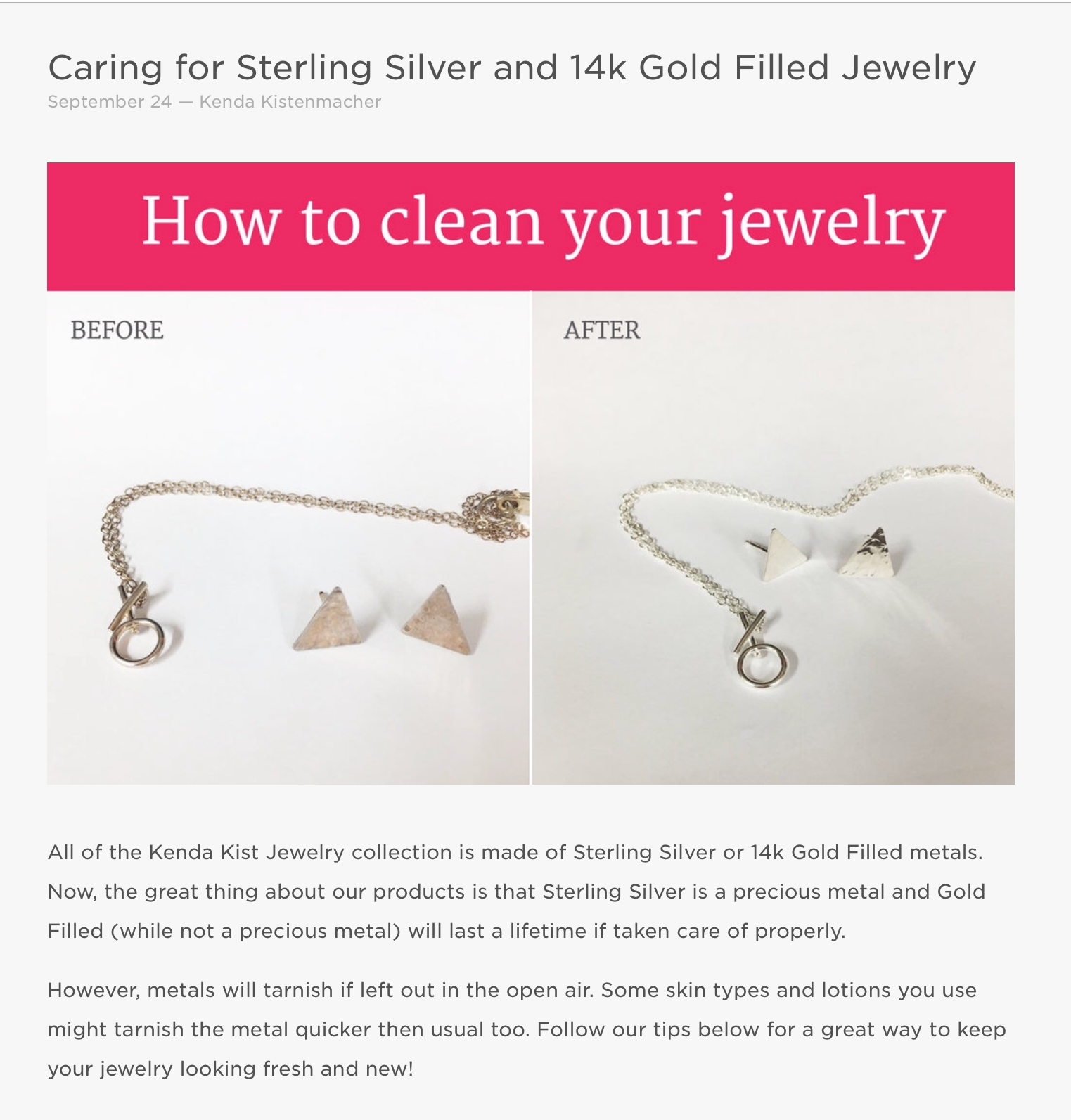 Caring for Sterling Silver and 14k Gold Filled Jewelry Kenda Kist