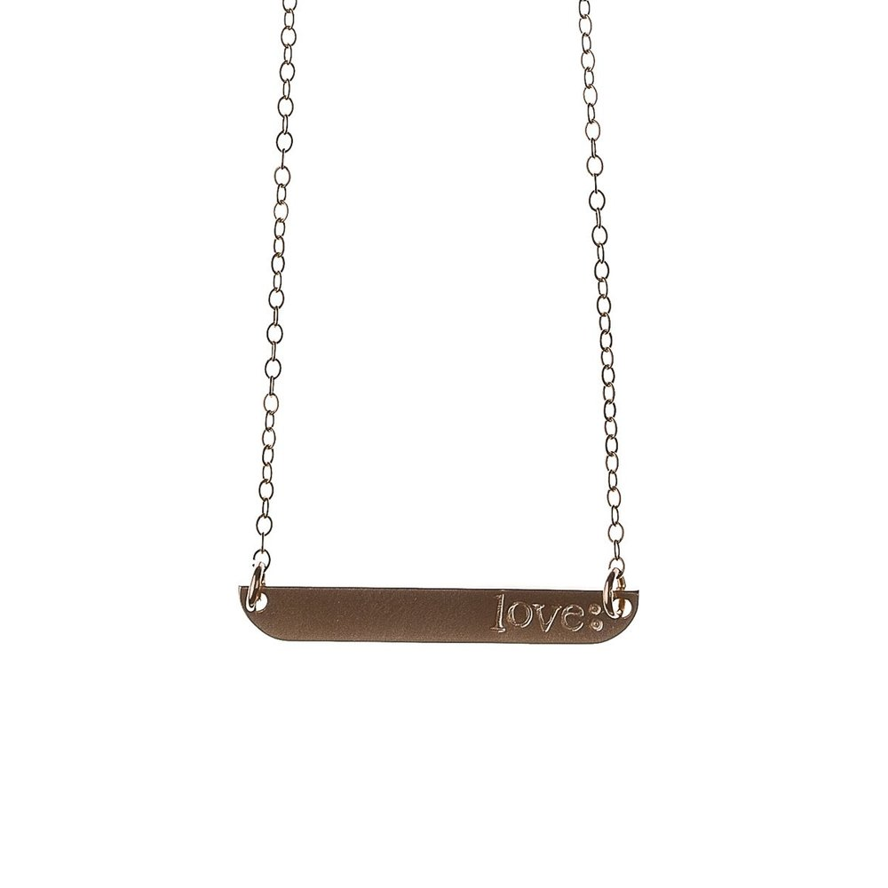 Rose Gold Name Plate Necklace - $75 Available in 14k Gold-Filled, Rose Gold-Filled or Sterling Silver. Choose up to 10 letters in a note to us when you click purchase for a personalized name or mantra.