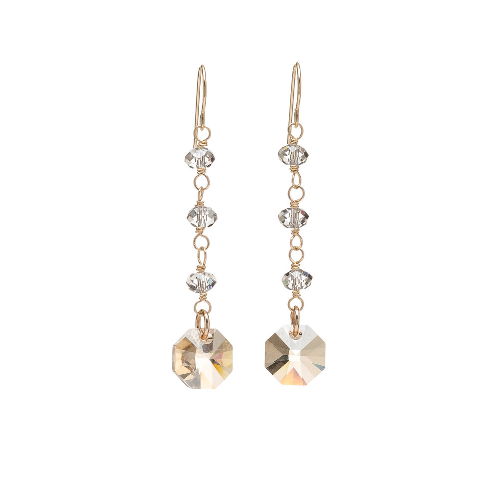 Octagon Swarovski Crystal Drop Earrings - $120 Embrace your glamorous side with these stunning Holiday Octagon Drop earrings. These earrings are bound to cause a sensation.