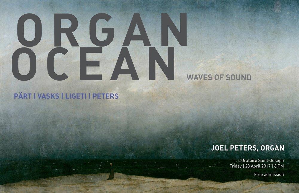 - Les adjectifs qui sont utilisés pour décrire l'océan (scintillant, immense, monstrueux, apaisant, effrayant) peuvent également être utilisés pour décrire l'orgue, ses sonorités et sa présence matérielle. Ce récital d'orgue est inspiré par cette idée. Il consiste en des œuvres musicales des 20 e et 21e siècles qui puisent ces caractéristiques distinctives dans l'orgue et, d'une manière différente, dans l'océan. Des textures chatoyantes, des rythmes calmantes et des grandes ondes sonores enveloppe l'audience.