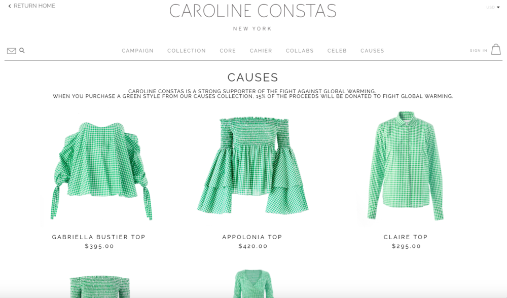 Caroline Constas  'Causes Collection' donates 15% of the proceeds to charities who are fighting global warming. All praise to the woman who can pull off Green Gingham though!