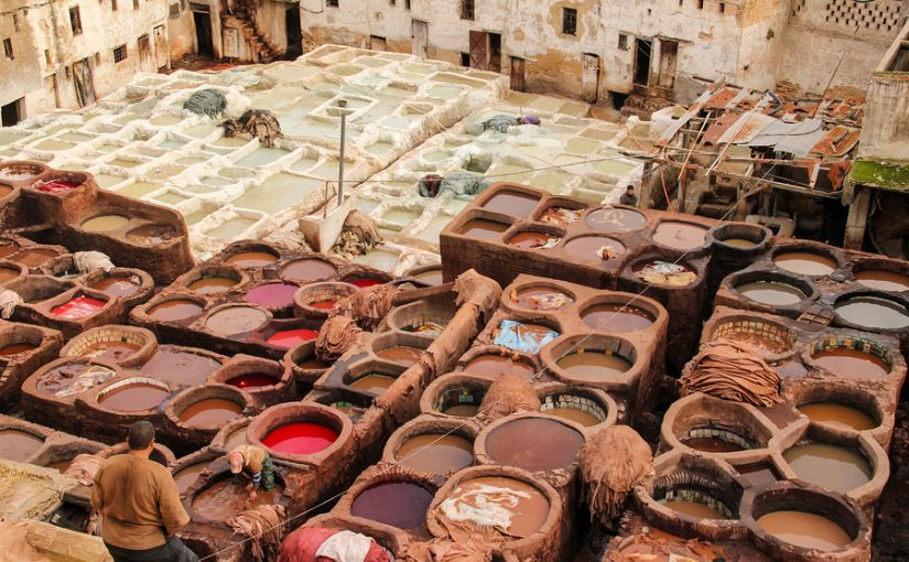 A tanning factory in Fez, Morocco