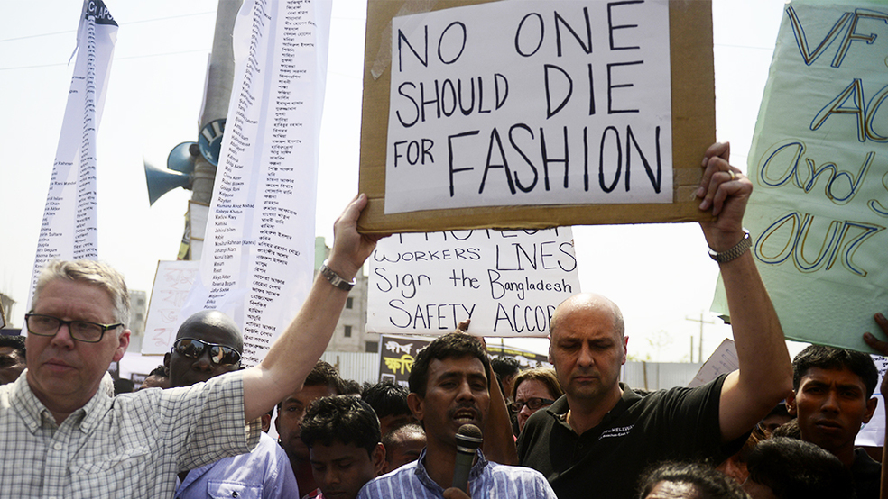 Protesters putting pressure on manufacturers to sign the Bangladesh Safety Accord