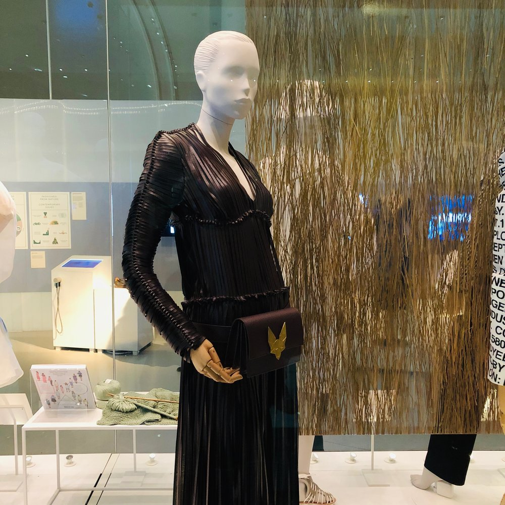 vegan leather - Dress, bag + belt by Tiziano Guardini made with Vegea; a leather alternative made from grape stalks/seeds/skin