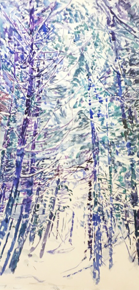 Lucien B. Day curved Watercolor painting of Trees in Vermont