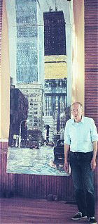 Lucien B. Day with World Trade Center Painting in Oil